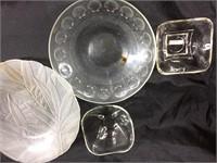 Assorted glass servingware