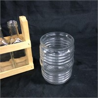 Minituare glass bottles & crate and glass