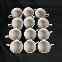 Set of Johnson Bros Blue Savanna tea cups (12)