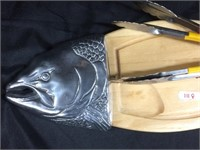 Fish cutting board and pair of tongs
