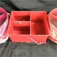 Assorted trio of storage bins with handle