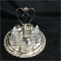 Silver plated condiment tray & dispenser