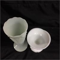 Assorted pair of milk glass
