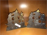 Pair of brass ships book end