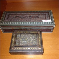 Pair of assorted ornate wood jewelry