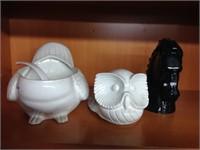 Italian porcelain owl soup tureen & horse bust