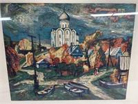 Abstract wall art -  Autumn church famed print