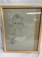 Signed 1977 portrait sketch of woman