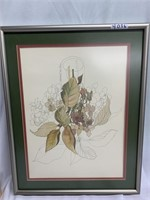 Incomplete water color portrait of  flowers in a