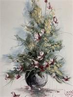Floral vase oil painting on canvas~J.C. Koreny