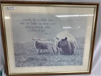 I John 3:1 framed quote with lambs