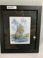 Water color American sail boat portrait