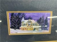 Wall Art - Suburban home in the winter w/ gold