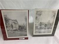 Black & white sketch portrait of buildings