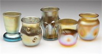Tiffany and other art glass toothpick holders