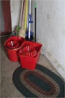 (2) Mop Buckets w/Cleaning Supplies; Mop, Broom,