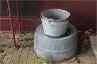 (3) Metal Tubs