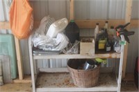 Metal Shelf w/ Oil, Clamps,Orchard Basket, Weed