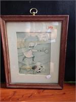"Vintage Painting - ""Girl Playing Tennis"""