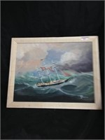 Hand painted portrait / sailboat in the sea