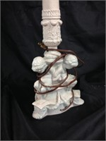 Tall lamp with angel  sculptured in base