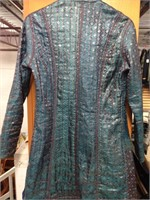 Blue Hand Quilted 100% Silk Jacket Made in India