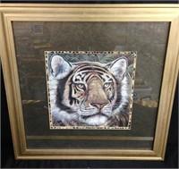 Framed Picture of Tiger - gold color frame