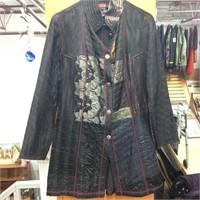 Silk Vintage Hand Quilted Jacket (Black / Size 36)