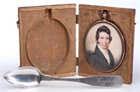 Important miniature portrait of Thomas Boyle Campbell (1796-1858), Winchester, Virginia silversmith, circa 1818-1823; from a group of items that has descended directly in the Campbell family including an oil on canvas portrait of Campbell, family silver and archival materials. To be sold together as a single lot.