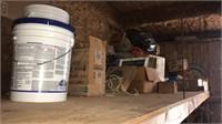 boxes, gallon buckets
