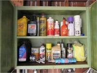 Loose Contents of Cabinet: Oils, Chemicals, ect