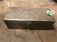 Metal Tool Box with Electric Drill and Bits