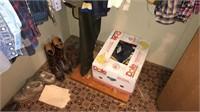gun cabinet, file cabinet, clothing, flashlights