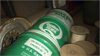 Quaker oil drum , gas cans, wheel