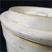 Vintage 4 Gal Uhl Pottery Acorn Wares Crock W Lid Idaho