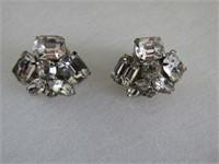 (3) Pairs Rhinestone Earings & Pin