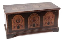 """Important Wythe Co., Virginia paint-decorated poplar blanket chest dated 1802. Published: J. Roderick Moore, """"Painted chests from Wythe County, Virginia,"""" Antiques 122, no. 3 (September 1982), p. 521, fig. 6. From a private Southern collection. Of the roughly two dozen decorated Wythe Co. blanket chests known, this is the only example that incorporates both the astragal and the rectangular panels; it was designated the """"transition chest"""" by Moore."""