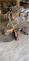 3 English Saddles - As Is, Needs Repair w/ 1 Stand