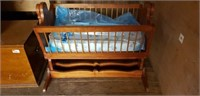 Wooden Rocking Cradle With Mattress