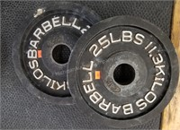 Pair of Caps 25 lbs. Barbells
