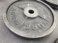 Pair of York 45 lbs. Barbells