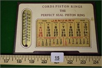 1948 Cords Piston Rings Thermometer & Calendar
