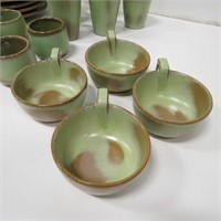 Frankoma Prarie Green Quot Lazybones Quot Dish Set Idaho Auction
