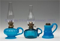 Rare colored fluid and kerosene hand lamps