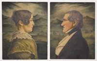 Exceptional pair of Virginia watercolor portraits by Charles Burton (1782-after 1847). 9.75 in. x 8 in. The Pollard collection; ex-collection of Elouise Ritenour, Woodstock, VA.