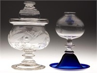 Exceptional Bakewell sugar bowl and rare New England whale oil lamp