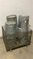(qty - 10) Metal Trash Cans-