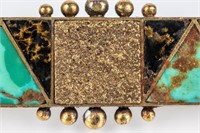 Jewelry 14kt Gold Shreve & Co. Turquoise Brooch