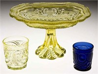 Unique Horn of Plenty cobalt blue tumbler, extremely rare canary Comet tumbler, and rare canary lacy compote