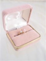 10K Gold Ring w/ Pink & White Stones